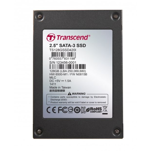 "TRANSCEND SSD420I 128GB Industrial SSD disk2.5"" SATA3, MLC, Ind., Iron case, černý"