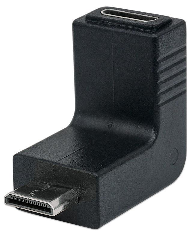 Manhattan redukce HDMI, HDMI mini C <-> HDMI mini C, M/F, zahnutý nahoru 90°