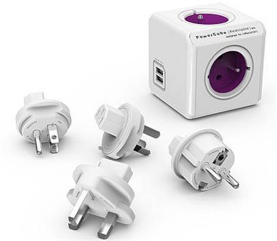 Zásuvka PowerCube REWIRABLE USB Violet + 4x cest. adap., 2x USB, 4 rozbočka, 6A