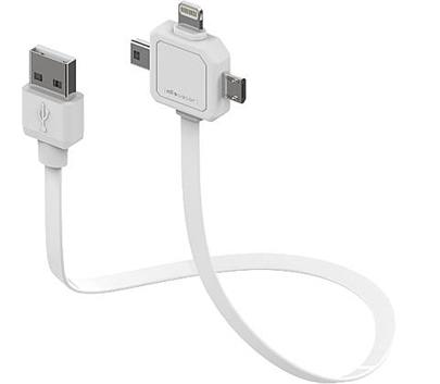 Data kabel PowerCube POWER USB CABLE, White, multi-vidlice (MicroUSB, MiniUSB, Apple Lithning)