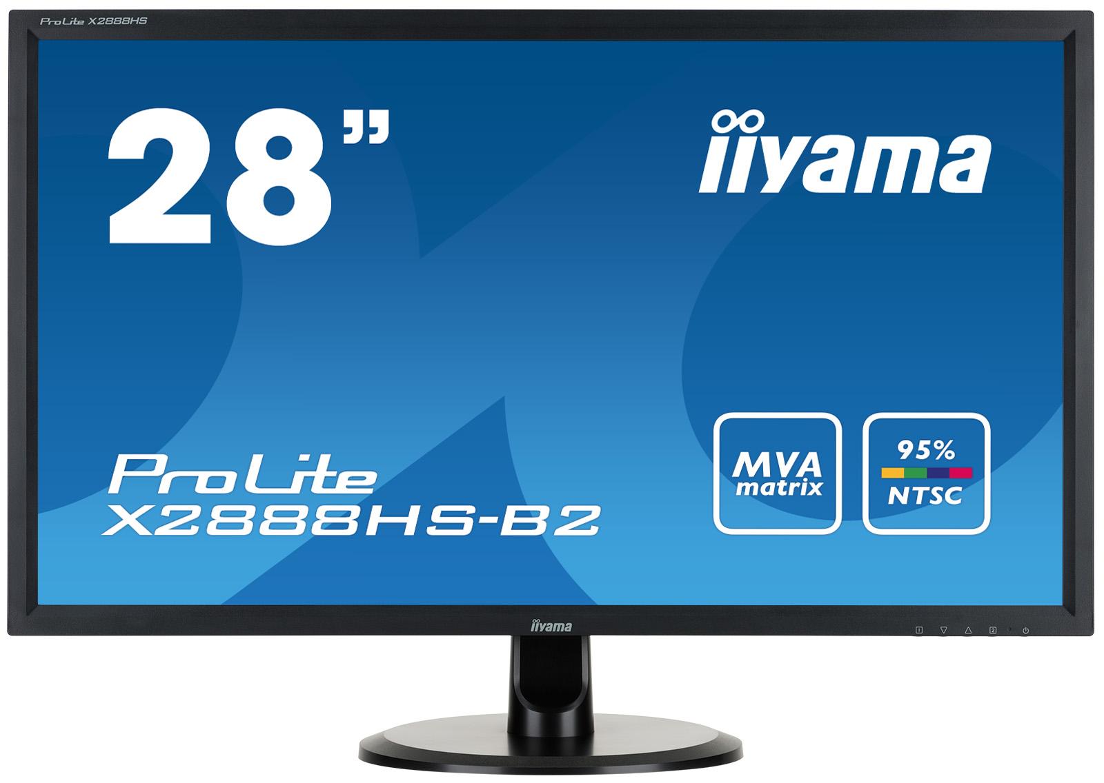 """28"""" LCD iiyama X2888HS-B2 - MVA, 5ms, 300cd/m2, 3000:1 (12M:1 ACR), FullHD, VGA, DVI, HDMI, DP,repro"""