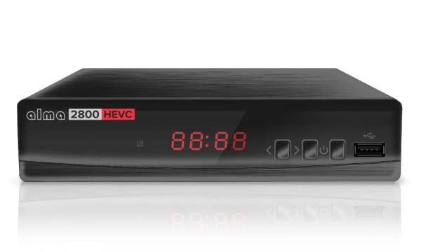 ALMA DVB-T2 HD přijímač 2800 s kodekem HEVC/ Full HD/ MPEG2/ MPEG4/ HEVC/ USB/ černý