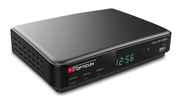 OPTICUM DVB-T2 přijímač Lion HD 265/ Full HD/ MPEG 1/2/4/ HEVC/H.265/ HDMI/ USB/ SCART/ černý