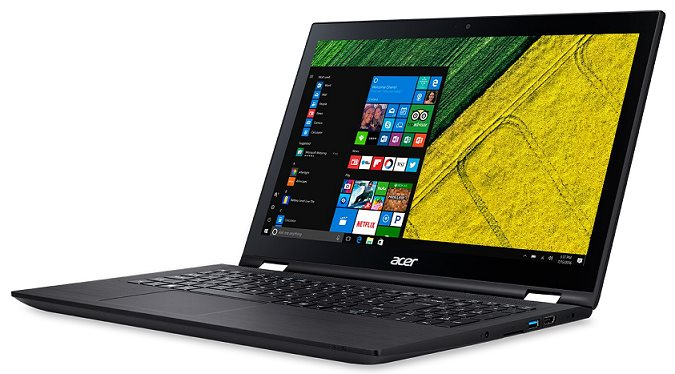 "Acer Spin 3 (SP315-51-38T2 i3-6100U/4GB+N/256GB SSD M.2+N/HD Graphics/15.6"" FHD Multi-Touch/BT/W10 Home/Black"