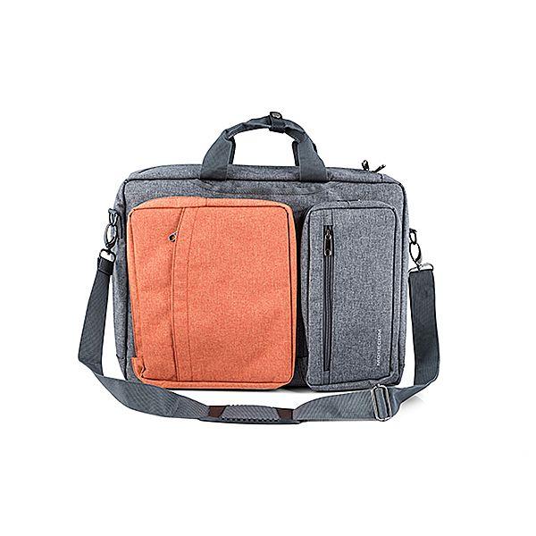 """Modecom brašna RENO na notebooky do velikosti 15,6"""", kovové přezky, 5 kapes, funkce batohu, šedo/oranžová"""