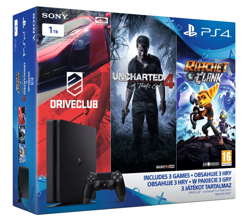 PS4 - Playstation 4 1TB Slim - FAMILY Pack - 3 hry: (Uncharted 4, DriveClub, Ratchet&Clank)