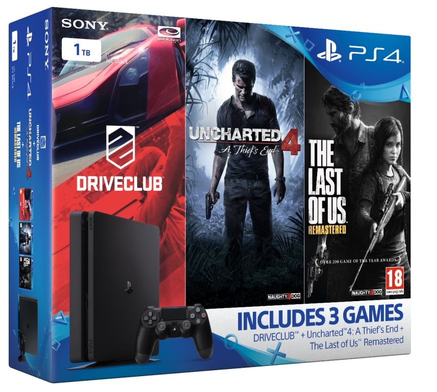 SONY PlayStation 4 Slim - 1TB + Uncharted 4 + DriveClub + The Last of Us