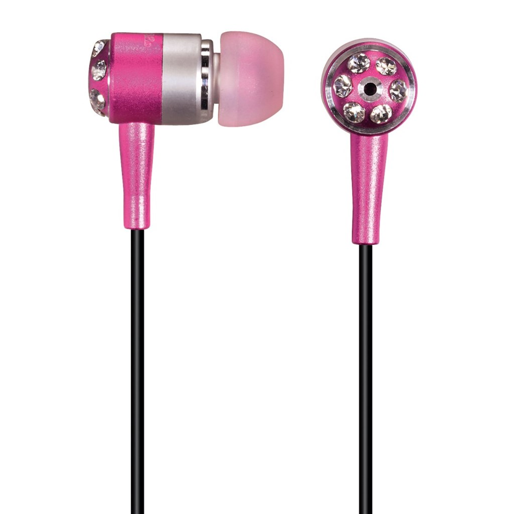 "Hama sluchátka HK-285 ""Crystal Alu"", silikonové špunty, růžová/stříbrná"
