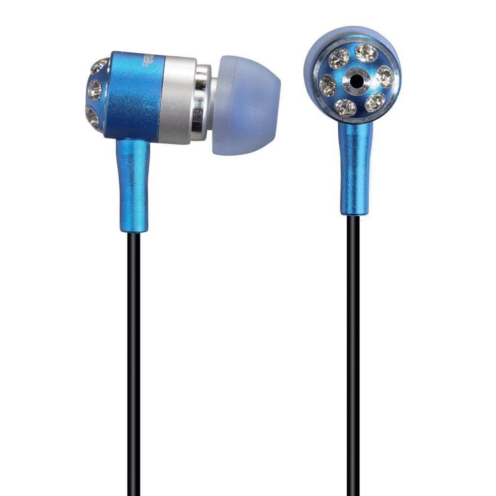 "Hama sluchátka HK-284 ""Crystal Alu"", silikonové špunty, modrá/stříbrná"