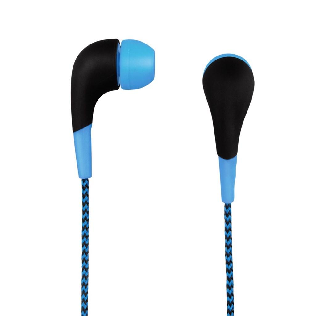 Hama sluchátka Neon, silikonové špunty, opletený kabel, modrá, #135632