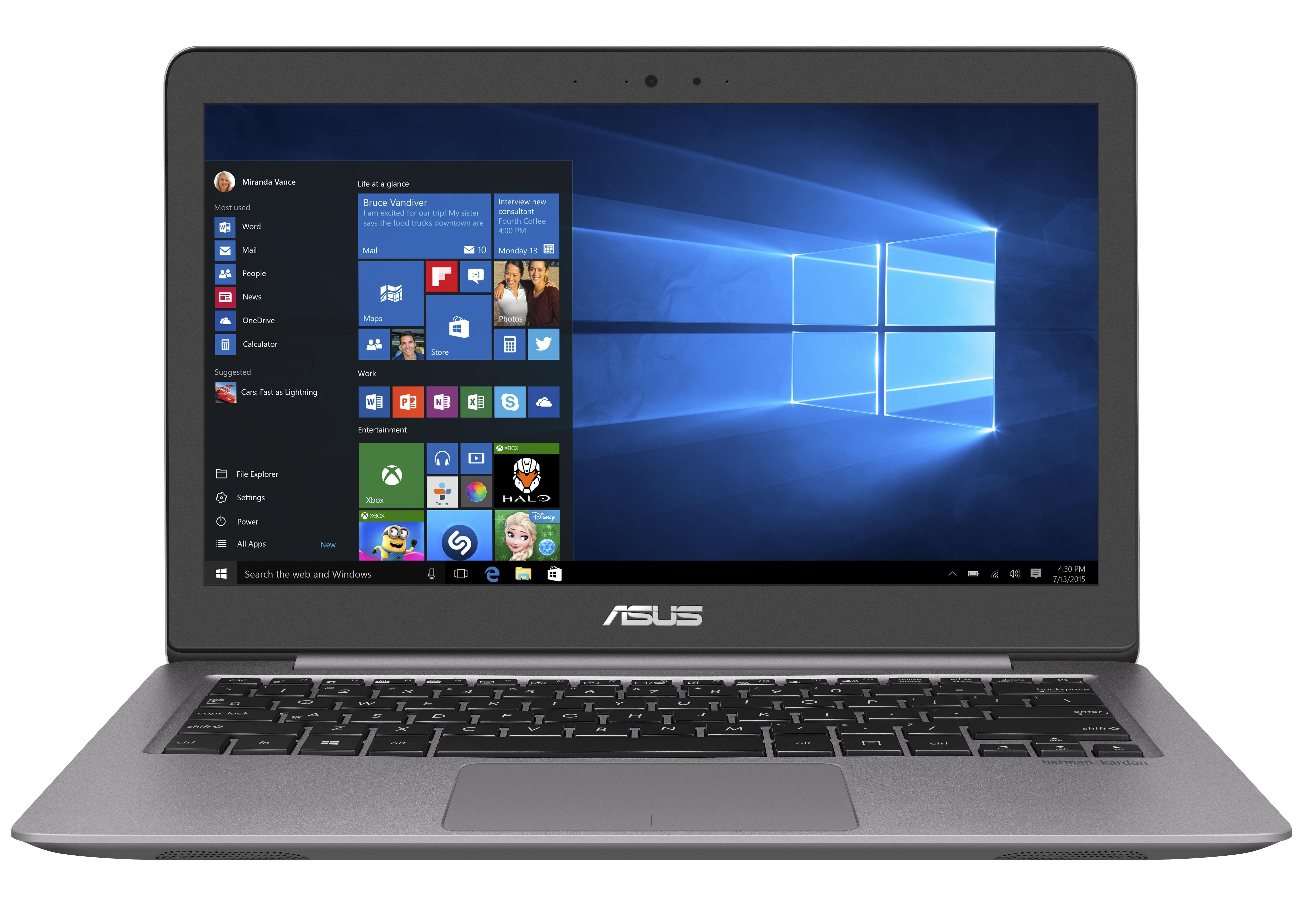 "ASUS NB UX310UA - Core i3-6100U@2.30GHz, 13.3"" LED FHD, intel HD, 4GB, 128G SSD, WiFi, BT, W10Pro, šedá barva"