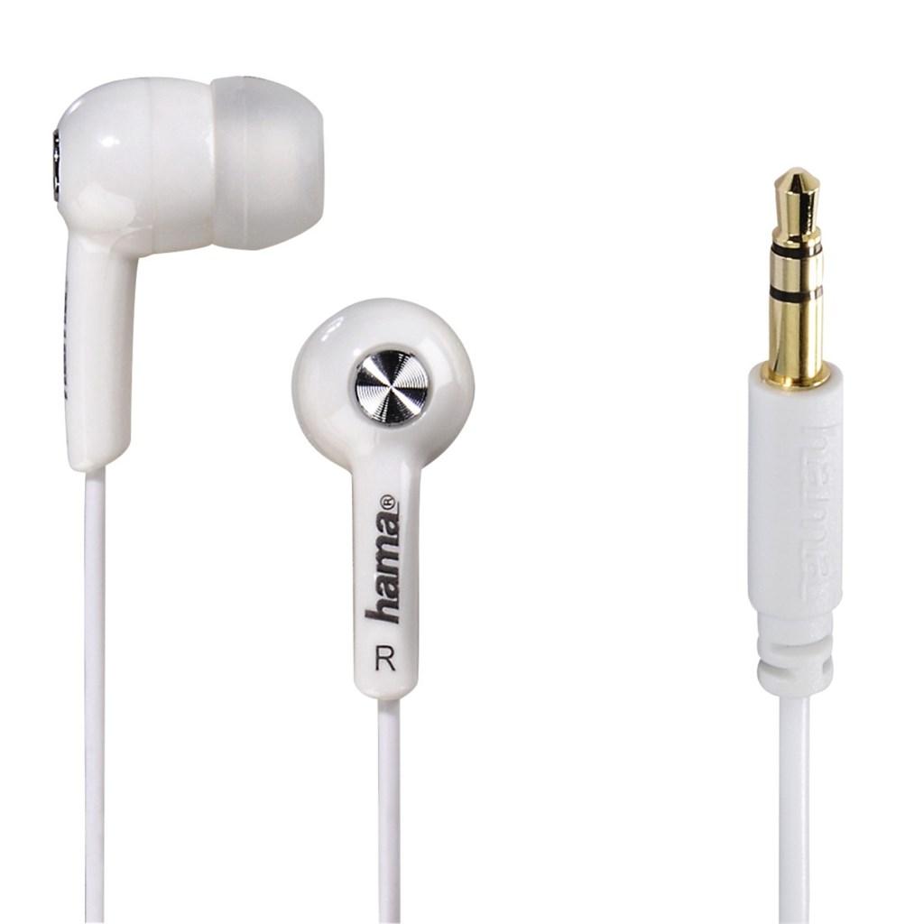 Hama sluchátka Basic, silikonové špunty, bílá