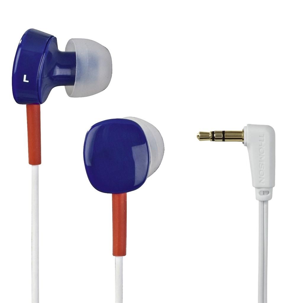 Thomson sluchátka EAR3056, silikonové špunty, modrá/červená/bílá