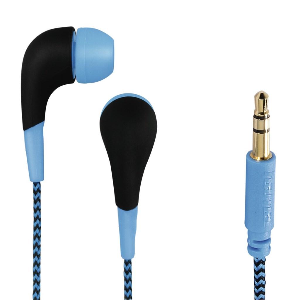 Hama sluchátka Neon, silikonové špunty, opletený kabel, modrá