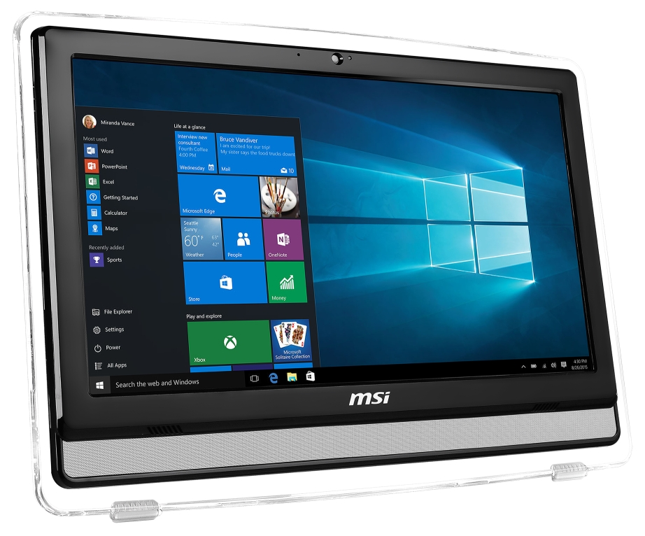 "MSI AIO Pro 22ET 4BW-021XEU 21.5"" Multi-Touch/1920x1080/Celeron N3160/4GB/1TB 7200 ot./HD Graphics/DVD/RW/Webcam/Bez systému"