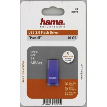 Hama FlashPen Pastell USB 2.0, 16 GB, 15MB/s, fialová