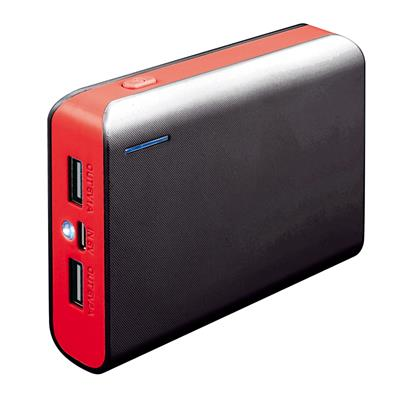 POWERBANK 6000mAh s kabelem a LED, červená
