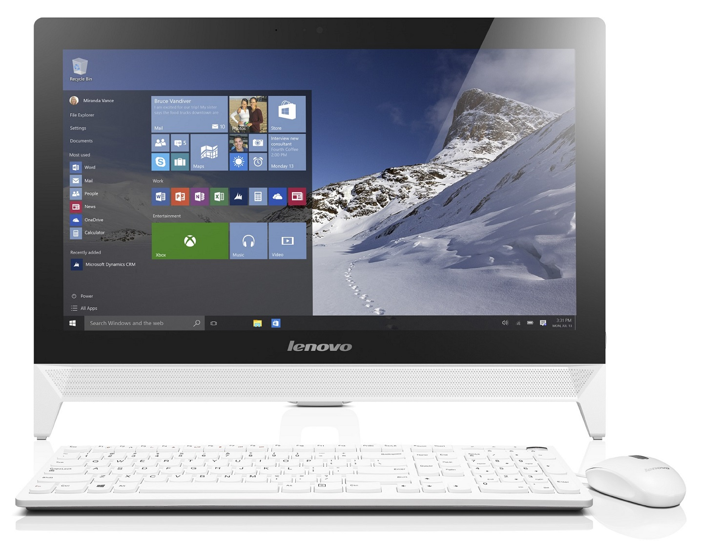 "Lenovo IdeaCentre AIO C20-00 Celeron J3060 2,48GHz/4GB/1TB/19,5"" HD+/DVD-RW/WIN10 bílá F0BB00VWCK"