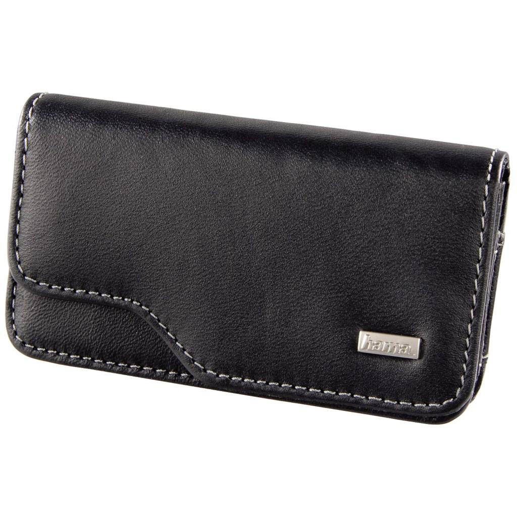 Hama kožené pouzdro na mobilní telefon Liveri, velikost 1, horizontální, černé