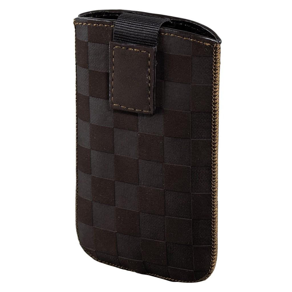 Hama pouzdro na mobil Velvet Pouch Karo, velikost XL, hnědé