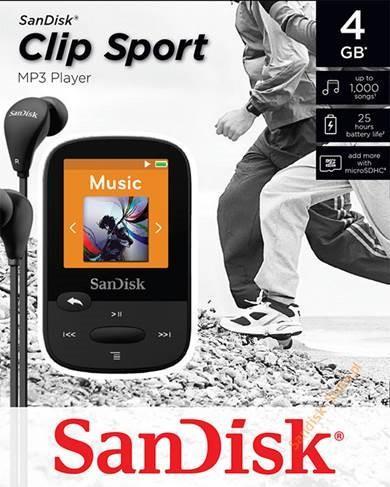 """Sandisk Clip Sport MP3 Player 4GB, microSDHC, micro USB, rádio, LCD 1.44"""", černý"""