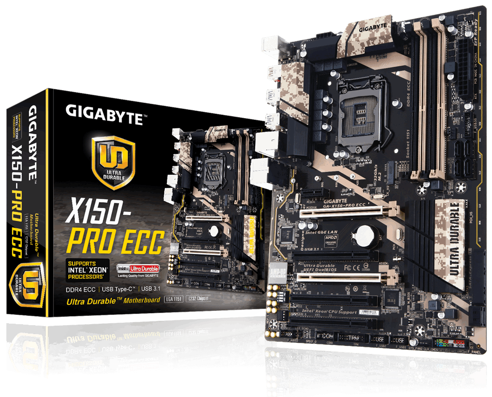 Gigabyte GA-X150-PRO ECC, C232, DualDDR4-2133, SATA3, SATAe, M.2, ATX