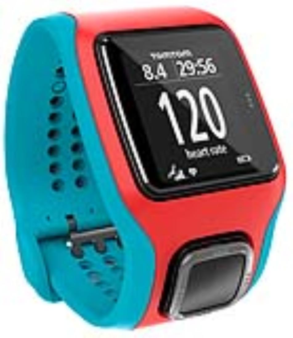 TomTom GPS hodinky Runner Cardio, tyrkysová/červená