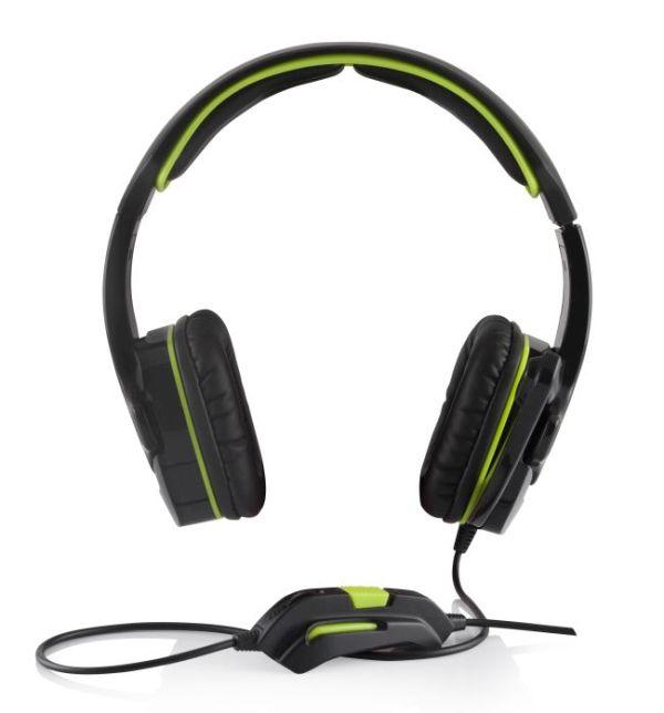 Modecom MC-829 ALIEN headset, herní sluchátka s mikrofonem, 2x 3,5mm konektor, 2,2m kabel, černá/zelená