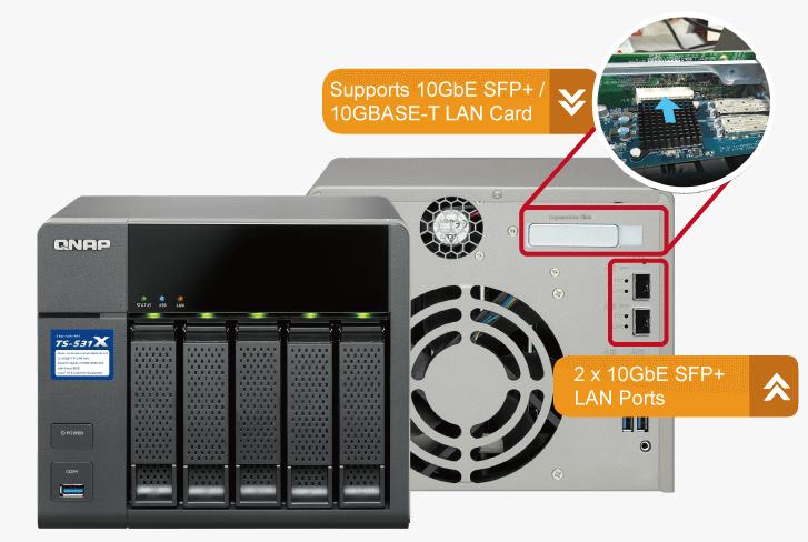 QNAP TS-531X-2G (1,4G/2GB RAM/5xSATA/2x10GbE SFP+)