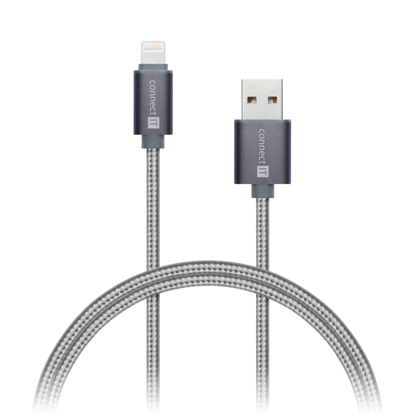 CONNECT IT Wirez Premium Metallic Lightning - USB, silver gray, 1m