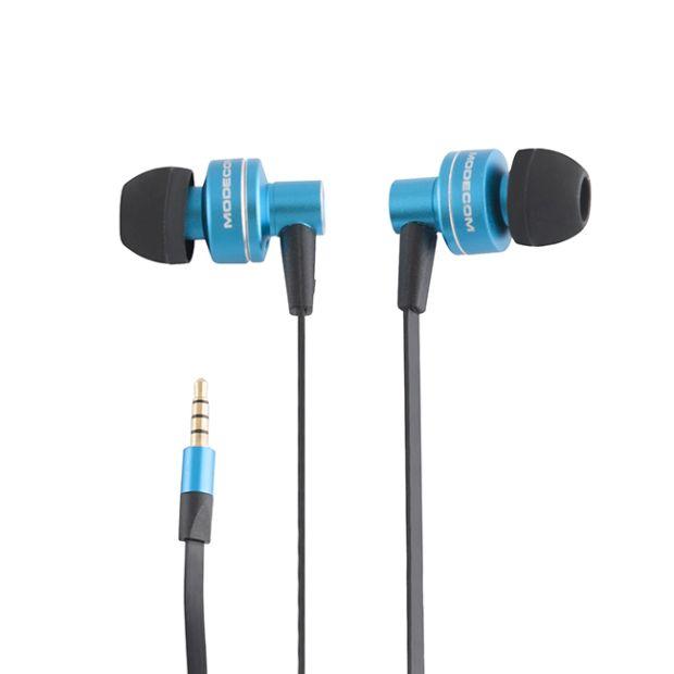 Modecom MC-141 sluchátka do uší s mikrofonem, špunty, 1,2m kabel, 3,5mm jack, modrá/černá