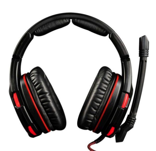 Modecom VOLCANO GHOST headset, herní sluchátka s mikrofonem, 2,2m kabel, USB 2.0, černá/červené podsvícení