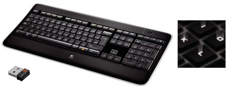 Logitech kláv. Wireless Illuminated Keyboard K800, US layout, unifying přijímač