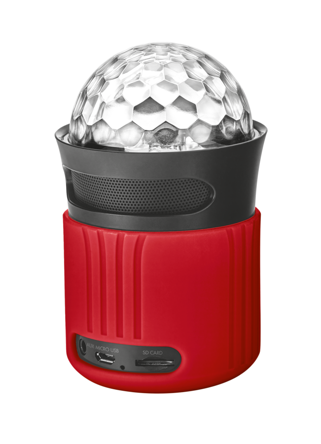 Trust Dixxo Go Wireless Bluetooth Speaker 21346 with party lights - red