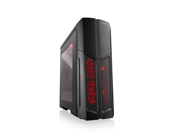 Modecom PC herní skříň MAG C5 MIDI, 1x USB 3.0, 2x USB 2.0, audio HD, čtečka SD karet, černá, červené LED, bez zdroje