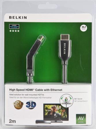 Belkin kabel HDMI HighSpeed 3D s Ethernetem boční 180°, zlacený - 2m