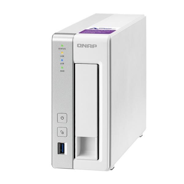 QNAP TS-131P Turbo NAS server, 1,7 GHz DC/1GB DDR3/1x HDD/1xGL/USB 3.0/iSCSI