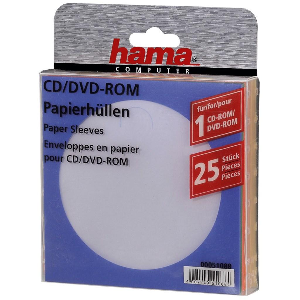 Hama ochranný papírový obal pro CD/DVD, 25ks/bal, barevný mix
