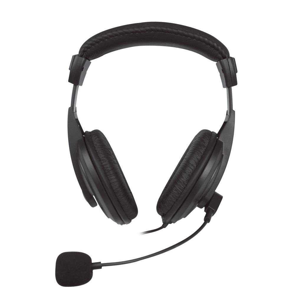 VAKOSS Stereofonní sluchátka s mikrofonem, na uši, ovládání hlasitosti Černá