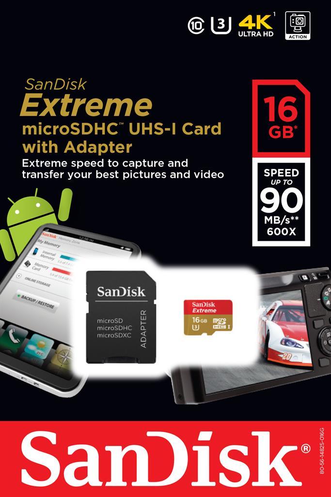 SanDisk Extreme paměťová karta microSDHC 16GB 90MB/s, UHS-I, mobile, +Adapter