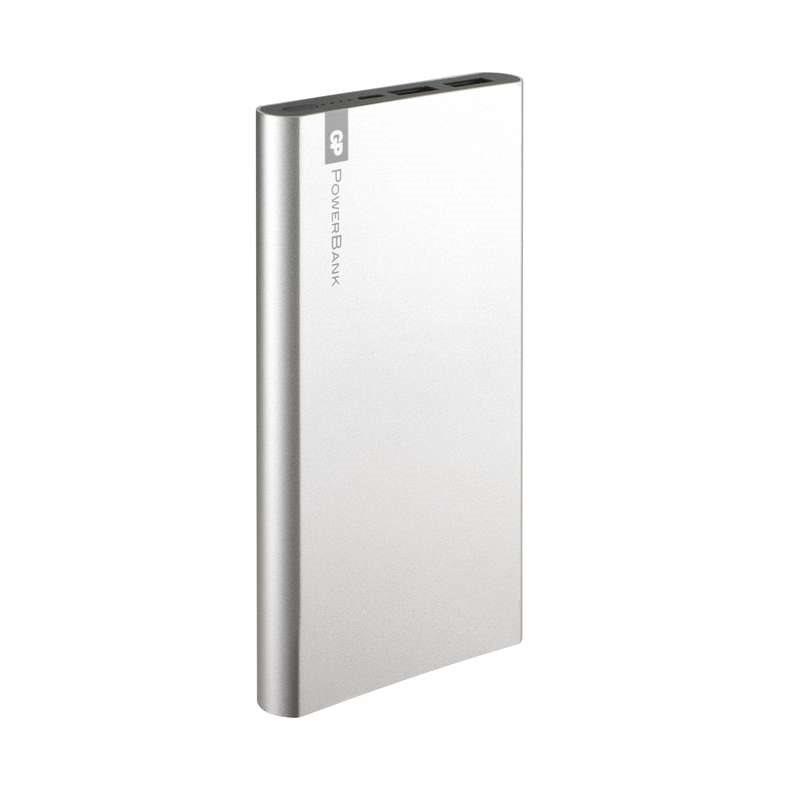 GP PowerBank FP10M, záložní zdroj 10000 mAh, USB 2.1A + USB 1A, stříbrná
