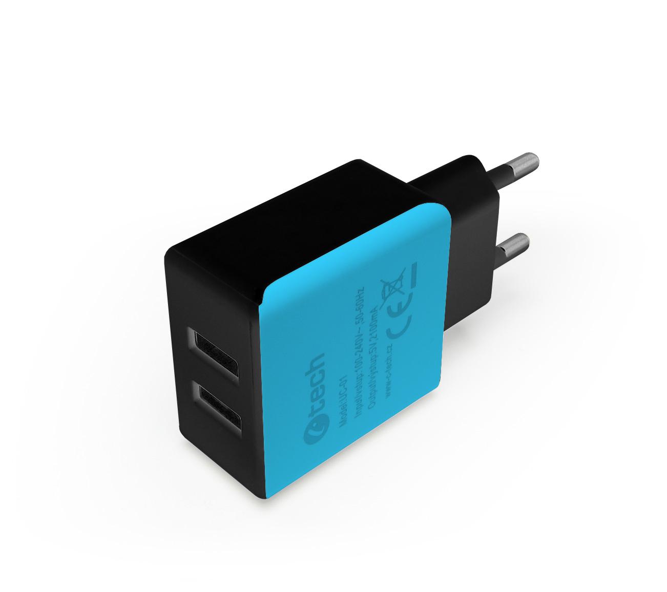 C-TECH Nabíječka USB UC-01, 2x USB, 2,1A, černo-modrá