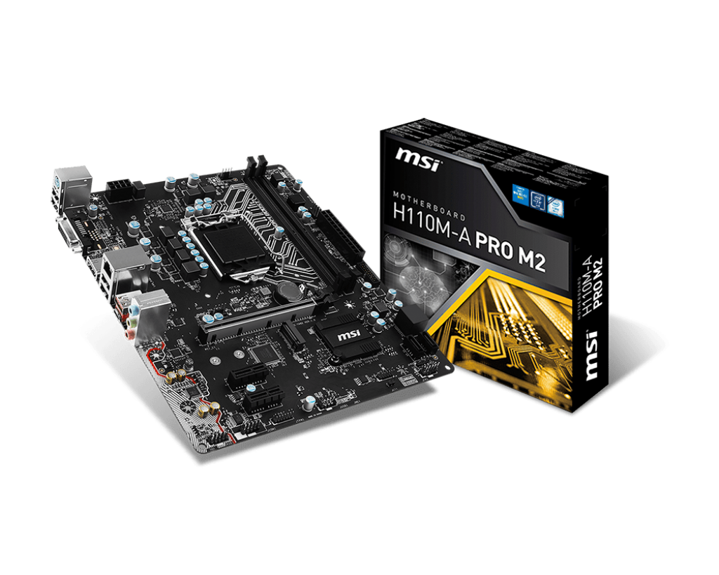 MSI H110M-A PRO M2, DDR4-2133 Memory, M.2 20Gb/s (PCI-E mode only) + SATA 6Gb/s