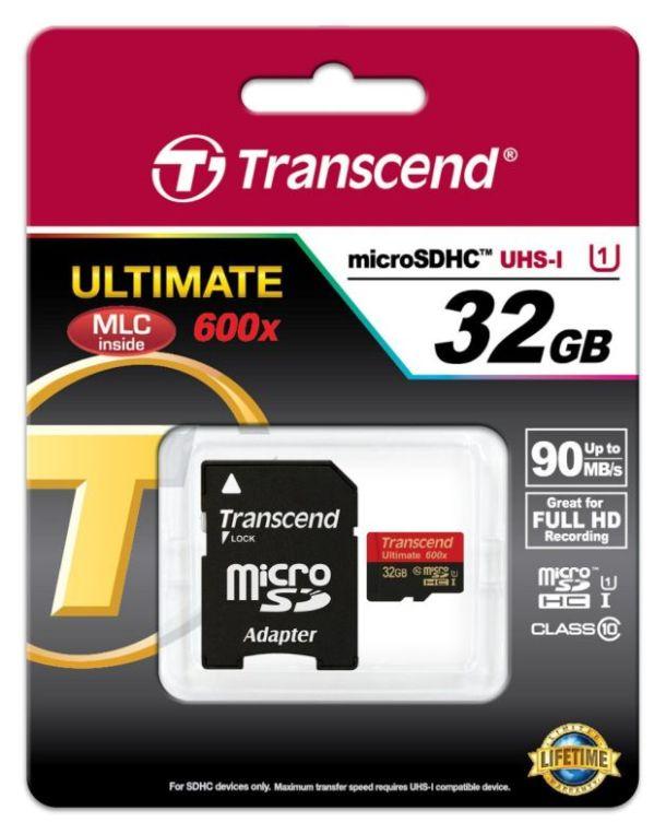 Transcend 32GB microSDHC (Class10) UHS-I 600x (Ultimate) MLC paměťová karta (s adaptérem)