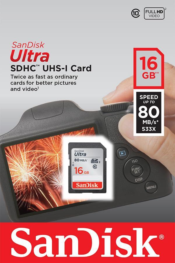 SanDisk Ultra paměťová karta SDHC 16GB čtení: až 80MB/s Class 10 UHS-I
