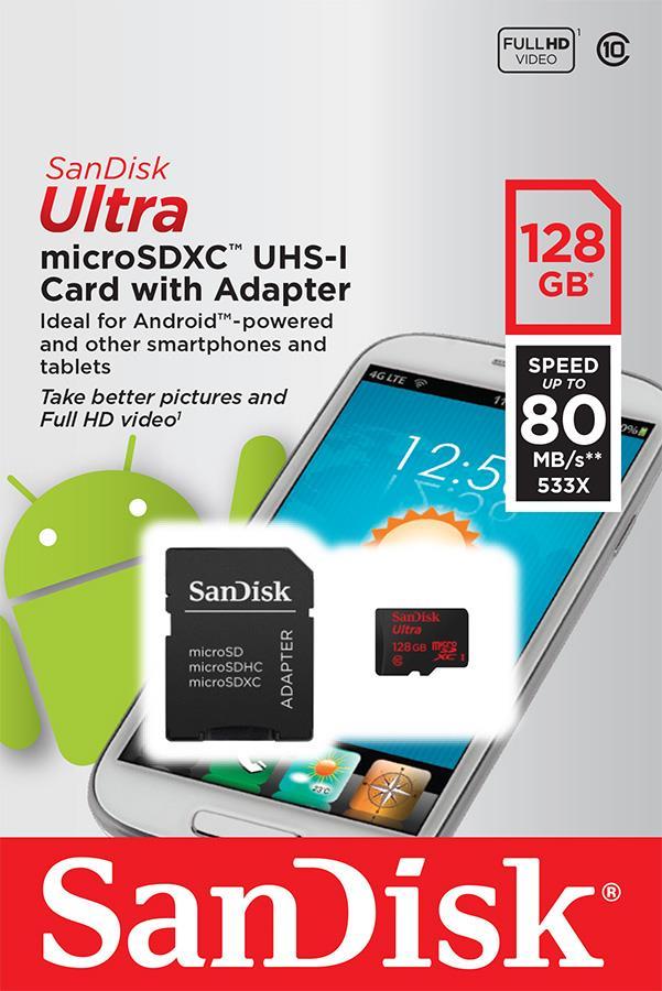 SanDisk ULTRA paměťová kart microSDXC 128GB UHS-I, 80MB/s, Android,
