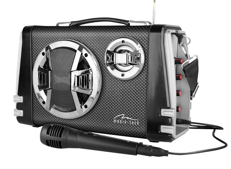 Portable Bluetooth speaker system MediaTech Karaoke Boombox BT with mic.