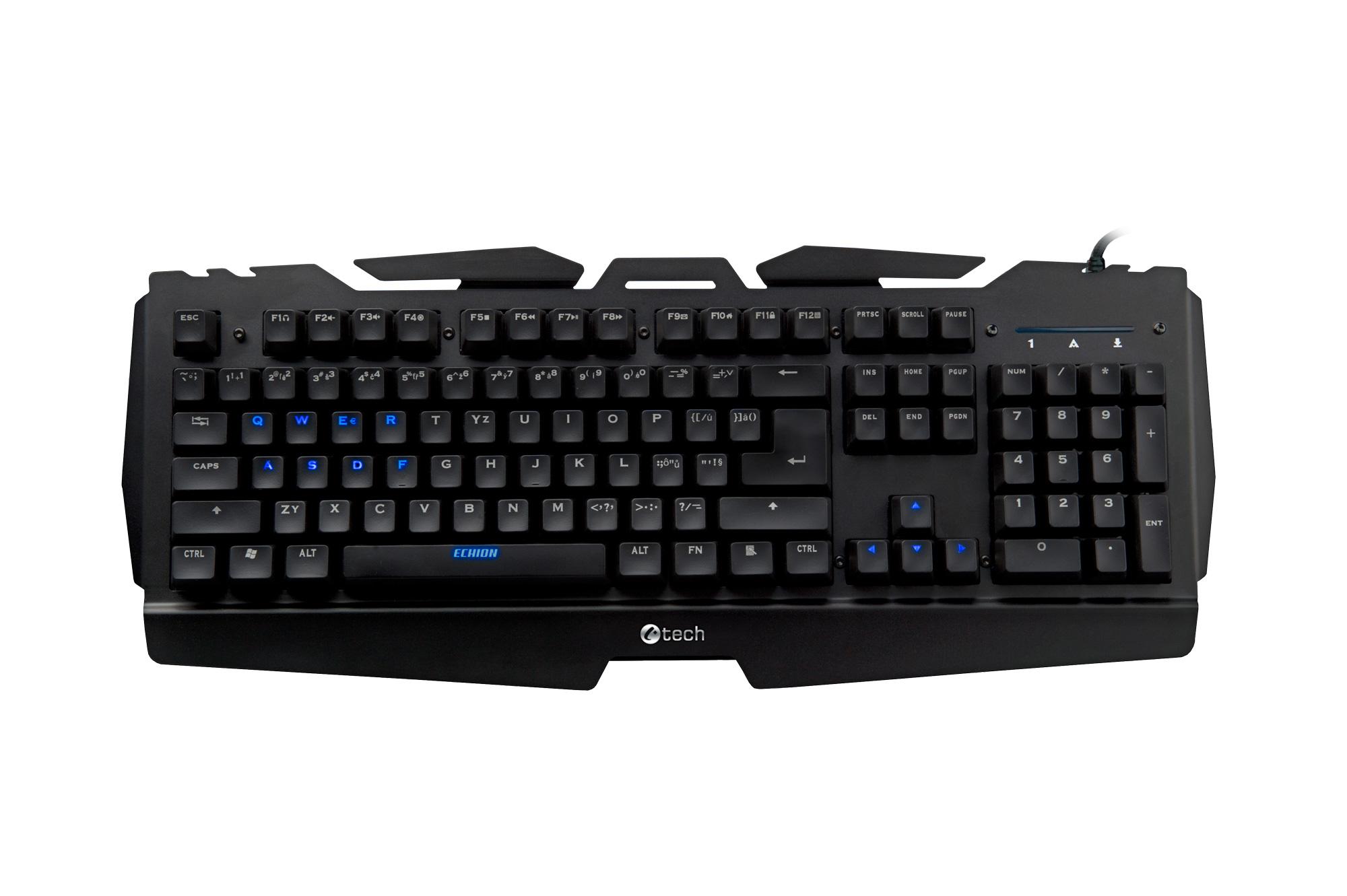 C-TECH herní klávesnice Echion (GKB-37), CZ/SK, mechanická s Kailh RED spínači, 7 barev podsvícení, programovatelná, USB