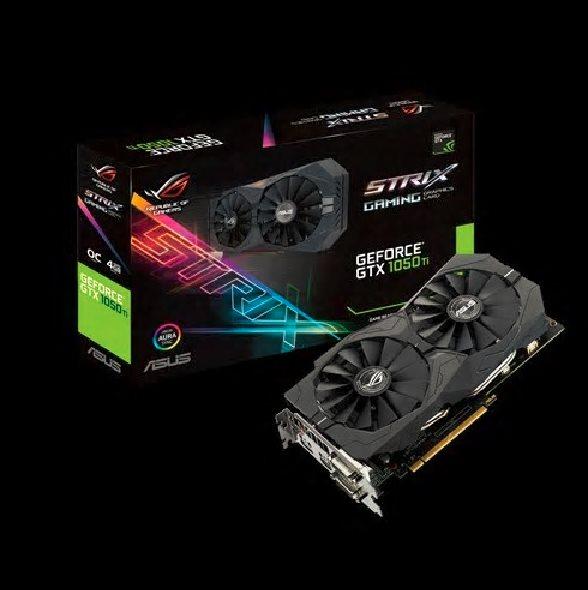 ASUS STRIX-GTX1050TI-O4G-GAMING - 4GB GDDR5 (128 bit), HDMI, 2x DVI, DP