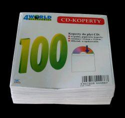 4World Obaly bez okénka na CD/DVD, papírové bez lepidla, 100 ks., fólie